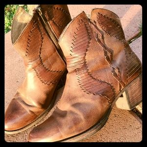 Used FRYE Ankle Boots with detailed leather work